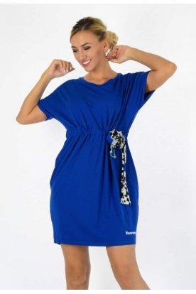 YESSTORY Divatos bőszabású derékban stílusos megkötővel összehúzható rövid ujjú mini ruha