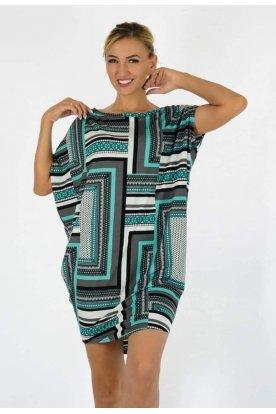 YESSTORY Asszimetrikus többféle mintával díszített női bő szabású felső/ mini ruha