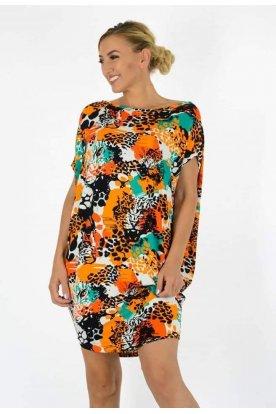 YESSTORY Asszimetrikus absztrakt és párduc mintával díszített női bő szabású felső/ mini ruha