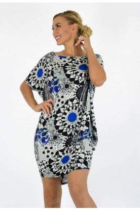 YESSTORY Asszimetrikus mandala és absztrakt mintával díszített női bő szabású felső/ mini ruha
