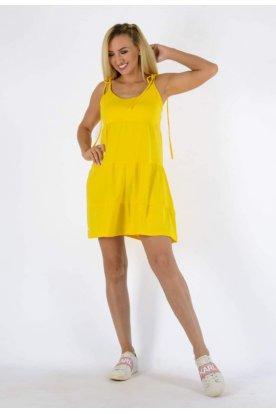 YESSTORY divatos spagettipántos vállon megköthető laza egyszínű női fodros miniruha