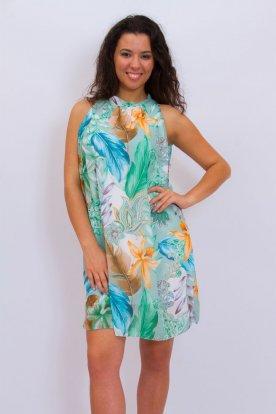 Stílusos nyakban megköthető színes levél és virágmintával díszített laza női nyári miniruha