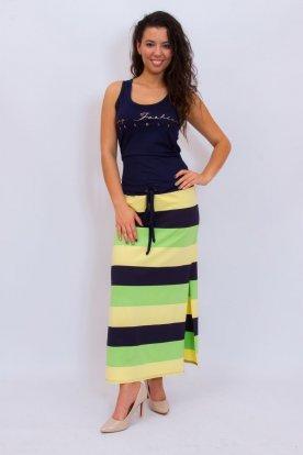 RUCY FASHION divatos derekán megköthető női feliratos maxiruha kétoldalt felsliccelt színes csíkos szoknyarésszel