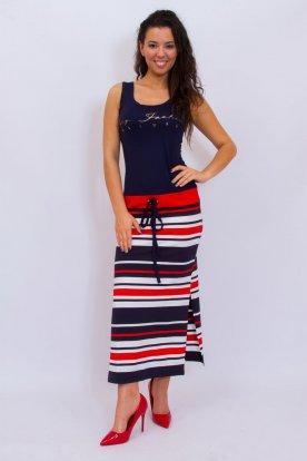 RUCY FASHION stílusos derekán megköthető női feliratos nyári pamut maxiruha kétoldalt felsliccelt színes csíkos szoknyarésszel