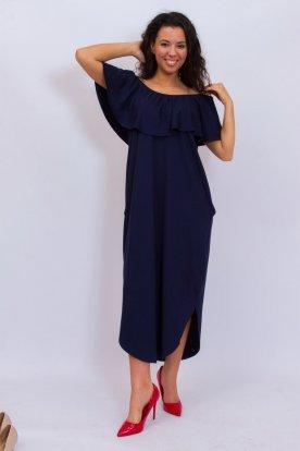 RUCY FASHION Zsebes bő fazonú kerekített aljú egyszínű maxi ruha pelerines vállra húzható felsőrésszel