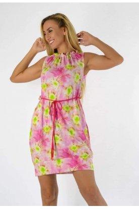 YESSTORY divatos színes egyedi mintával díszített nyakánál fodros derekán megköthető zsebes női ujjatlan miniruha/tunika