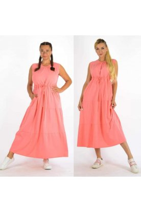 YESSTORY divatos egyszínű derékban megköthető ujjatlan maxi ruha