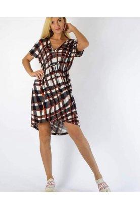 YESSTORY stílusos anyagában mintás rövid ujjú bő szabású derékban összehúzható és megköthető női tunika / mini ruha