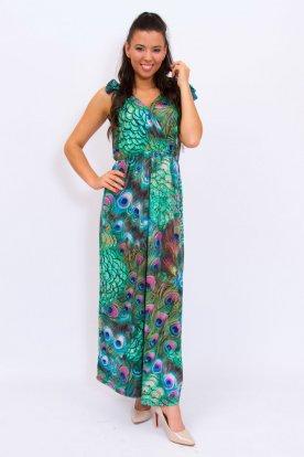 Stílusos mellnél átlapolt vállnál megköthető anyagában mintás derék részén gumis női maxi ruha
