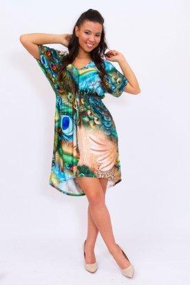 Stílusos V kivágású derékban összehúzható pávatoll mintával díszített női rövid ujjú tunika/ midiruha