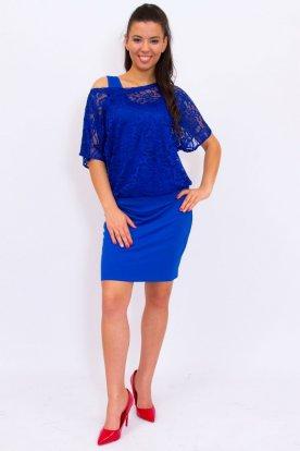 Rucy Fashion alkalmi rövid ujjas csipke tunika/ mini ruha trikós alsórésszel