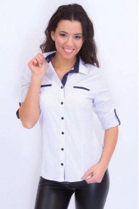 CATANIA divatos női kis méretű fehér színű roll up ujjú ing sötétkék szegéllyel