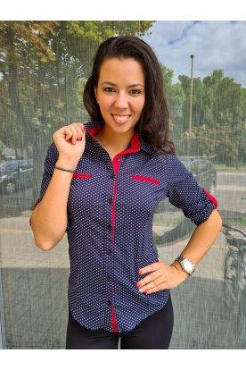 CATANIA női divatos kisméretű 3/4-es ujjú sötét kék alapon közepes fehér pöttyös ing piros szegéllyel