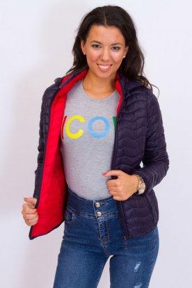 Divatos női kifordíthatós átmeneti rövid steppelt kabát levehető kapucnival