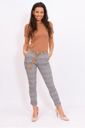 Alkalmi anyagában mintás női sztreccses nadrág övvel