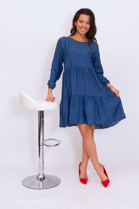 Divatos bő szabású fodros hosszú ujjú farmer női mini/midi ruha