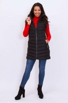 NATURE divatos női steppelt hosszított mellény kapucnival és cipzárján felirattal