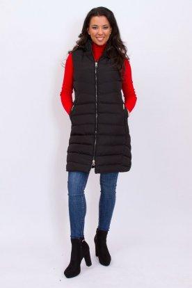 NATURE kis méretű divatos női steppelt hosszított mellény levehető kapucnival