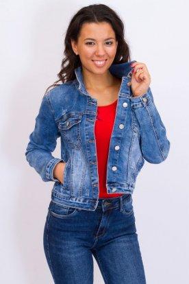 GOURD JEANS divatos női koptatott rövid derekú farmerkabát