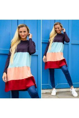 YESSTORY divatos női négy színű A vonalú hosszú ujjú felső/ruha