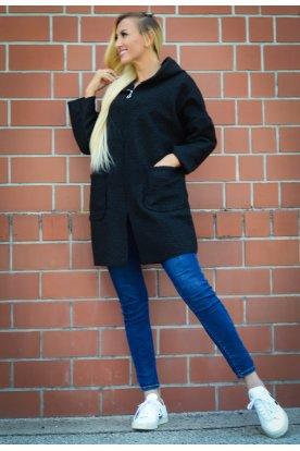 Divatos női elegáns buklés kabát elöl nagy zsebekkel