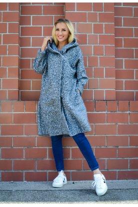 Divatos női elegáns hosszú buklés kabát zsebekkel