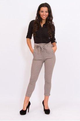 Alkalmi anyagában mintás derekán megköthető női sztreccses nadrág