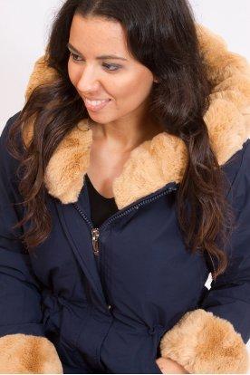 NATURE stílusos derékban összehúzható női parka télikabát levehető prémmel
