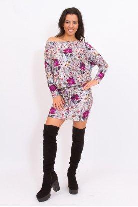 RUCY FASHION divatos derékban megköthető szürke alapon apró virág mintás női hosszú ujjú tunika/ mini ruha