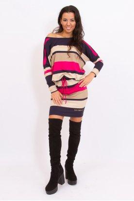 RUCY FASHION divatos derékban megköthető csíkos női hosszú ujjú tunika/ mini ruha