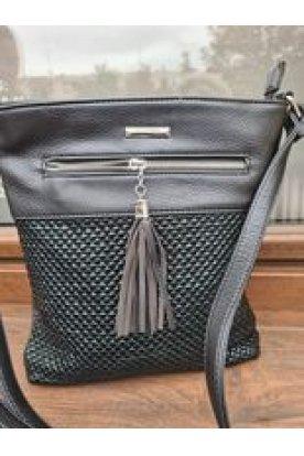 SILVIA ROSA Divatos elöl cipzáros anyagában rattan hatásúnői oldal/váll táska