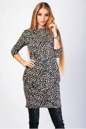 VICTORIA MODA divatos anyagában mintás hosszú ujjú felső/tunika