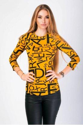 VICTORIA MODA divatos anyagában mintás hosszú ujjú felső