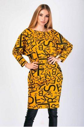 VICTORIA MODA bő szabású anyagában mintás divatos ruha