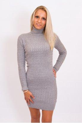 Divatos kötött garbós női miniruha/pulóver
