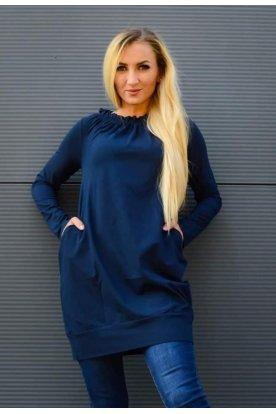YESSTORY stílusos női ruha/tunika hosszú ujjú, nyakrészén húzott, alján passzés