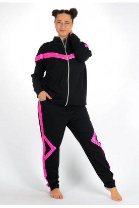 YESSTORY Extra nagy méretű divatos kényelmes női szabadidő szett csipkebetéttel