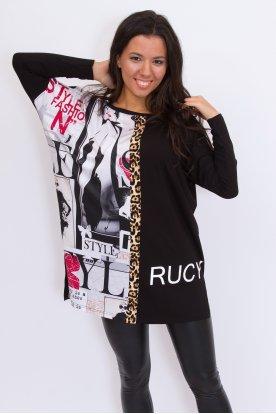 RUCY FASHION stílusos anyagában mintás hosszú ujjú női felső/tunika
