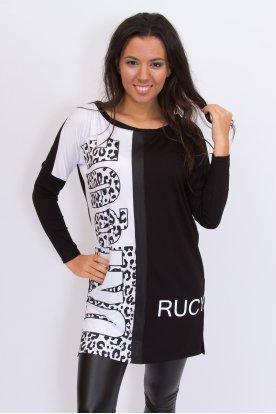 RUCY FASHION stílusos anyagában mintás hosszában vágott hosszú ujjú női felső/tunika