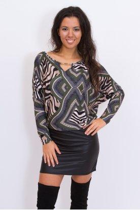 RUCY FASHION anyagában mintás bőrszoknyás denevér fazonú divatos mini ruha /tunika