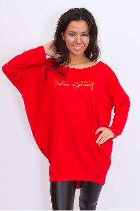 RUCY FASHION stílusos extra nagy méretű feliratos egyszínű hosszú ujjú bő fazonú női felső