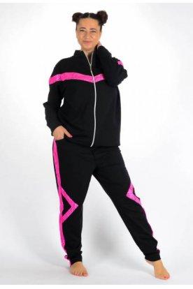 YESSTORY divatos kényelmes csipkés díszítésű nagyméretű női szabadidő szett színes díszítéssel