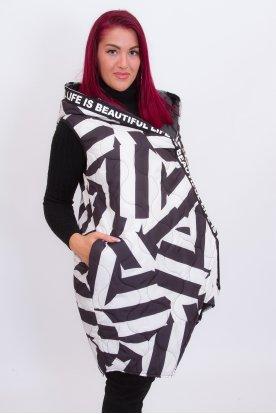 Stílusos asszimetrikus zebra mintás feliratos kapucnis női mellény