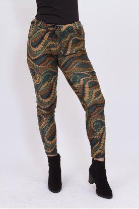 Divatos gyűrt anyagú pöttyös mintás női nadrág