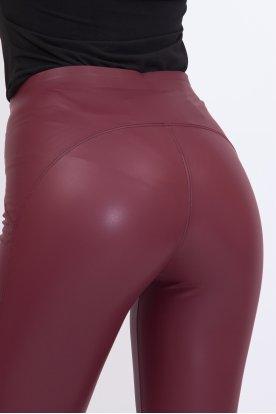 Szexi push up-os fényes felületű belül bolyhos bőr leggings
