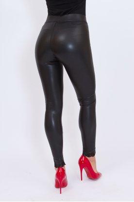 GONDOLA BLU szexi push up-os fényes felületű alján csipkével díszített belül bolyhos bőr leggings