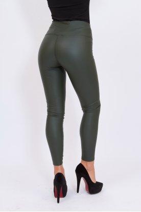 GONDOLA BLU szexi push up-os fényes felületű belül bolyhos bőr leggings