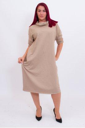 Kámzsás nyakú zsebes hosszú női ruha