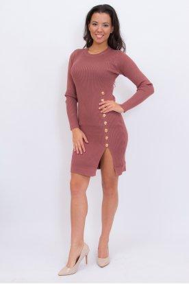 Bordázott gombos női mini ruha