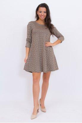 Divatos görög mintás A vonalú hosszú ujjú női mini ruha